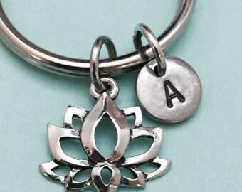 Lotus flower keychain, lotus flower charm, flower keychain, personalized keychain, initial keychain, customized, monogram