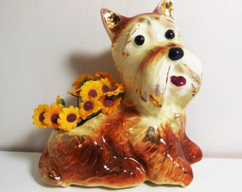 Scottie Dog - Brown with Gold Gilt Accents - Vintage Planter