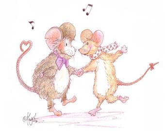 Dancing Mice - Watercolour Pencil Drawing - Salsa Tango WHEE! Wall Art Print – New Baby Gift – Music Lover Print – Cute Valentine Art
