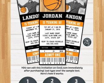 Basketball Invitations - Basketball Ticket Invitation - Basketball Birthday Invitations - Basketball Party Invitation - Corjl