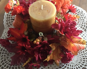 Fall Hand made candle ring  is here 3 inch opening hand made usa  530