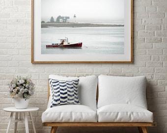 "Coastal Photography, Large Wall Art Print, Nature Photography, Fine Art Print, Harbor, Lighthouse Photography, ""Into The Mist"""