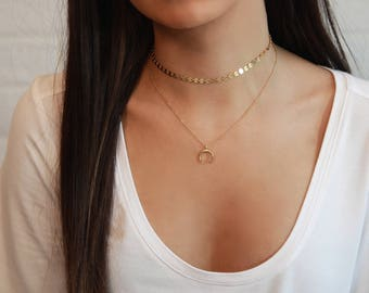 Moon Choker Necklace • Upside Down Moon Necklace • Delicate Gold Crescent or Horn Necklace