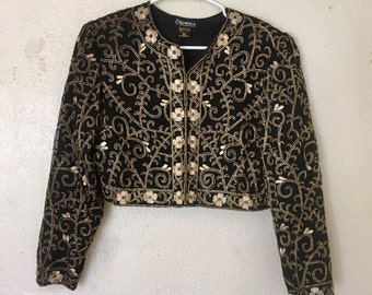 Pure Silk Indian Beadwork Jacket with Stitched Flower Pattern