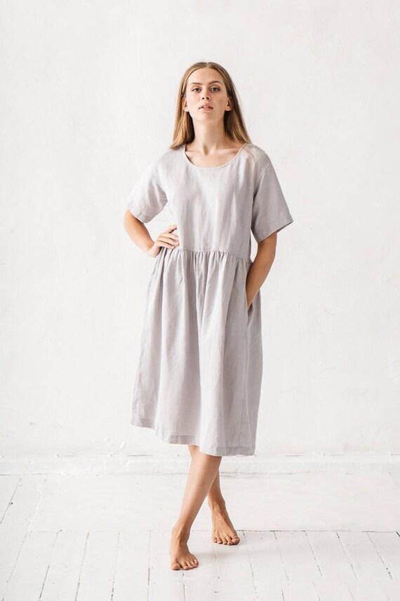 Einfaches Leinen Kleid / Maxi Kleid / Sommer Kleid / jeden Tag