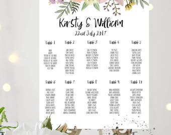 BOHO Printed Personalised Wedding Rustic Table Plan - Seating Chart - Watercolour Floral Design - Pink and Purple Flowers Two 2 Sizes