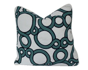 Schumacher Conundrum Pillow Cover in Teal and Navy with Ivory Piping