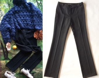 Barbara Bui Initials Black Tailored Pants/ Straight-Leg Cut/ XS-36/ 100 % Wool