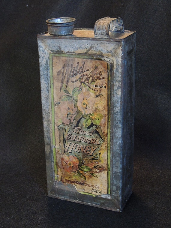 Antique Wild Rose Brand FINEST CALIFORNIA HONEY Tin / Can With Original Label