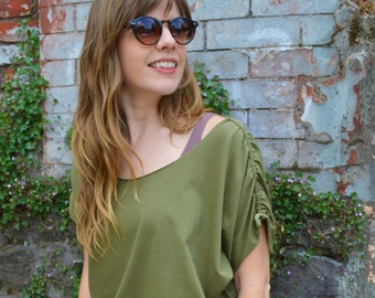 ShanTee - organic cotton flowy t-shirt with drawstring sleeves -dolman tee