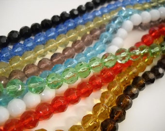 8mm Glass Beads Faceted Beads BULK Beads Wholesale Beads Assorted Beads 8mm Beads 4 Strands Faceted Glass Beads 160 pieces