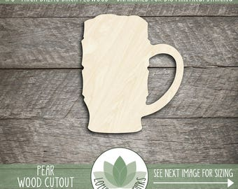 Wood Mug Shape, Unfinished Wood Beer Mug Laser Cut Shape, DIY Craft Supply, Many Size Options, Blank Wood Shapes