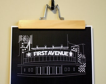First Avenue & 7th Street Entry Outline Print • Minneapolis • Wall Art Print