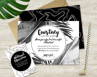 Monochrome Hen's Night Invitation