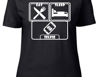 Eat. Sleep. Selfie. Ladies semi-fitted t-shirt.