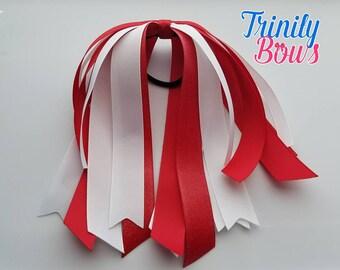 Red and White - Ponytail Streamer - Glitter - Red - White