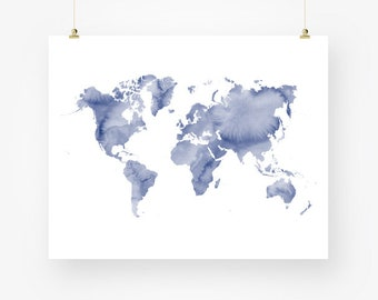 Large world map print watercolor world map poster art navy large world map print navy blue download watercolor world map of the world wall art decor gumiabroncs Image collections