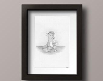 Dragon Print - Little Dragon - Baby Dragon Print - Baby Dragon Art - Dragon Nursery - Dragon Nursery Print - Dragon Nursery Art - Dragon Art