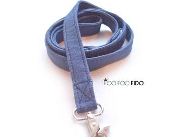 Denim Leash, Dog, Pet, Matching Sturdy Walking Leash, Handmade by Foo Foo Fido