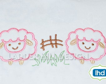 Lamb Embroidery Design -- Baby Lambs in Grass Heirloom Outline Machine Embroidery Design No.  EA015
