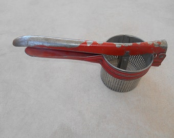 Vintage Red Handle Potato Ricer, Unmarked