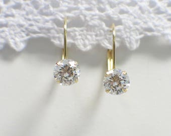 14K Yellow Gold Leverback Round CZ Cubic Zirconia Dangle Earrings