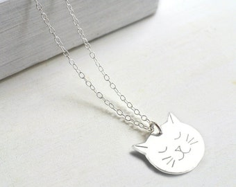 Personalised Sterling Silver Cat Face Necklace, gift for cat lovers, silver cat necklace, birthday gift, personalised cat necklace