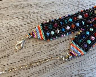 "Bracelet woven beaded ""Ande Technicolor"""