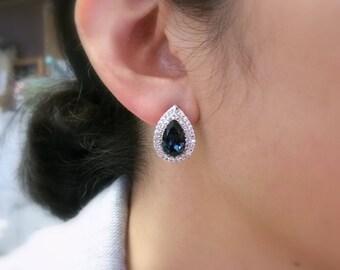 bridal wedding christmas prom jewelry Swarovski montana blue teardrop crystal rhinestone rhodium silver stud earrings clear cubic setting