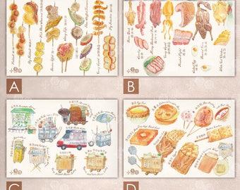 Hong Kong Traditional street snack / siu mei watercolor Postcard