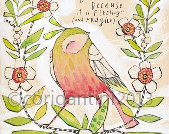 a reproduction of a watercolor painting of a bird, wall art, an 8 x 10 archival and limited edition print by cori dantini