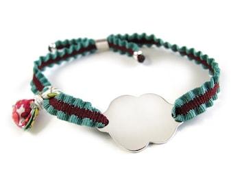 Pulsera Nube/plata/girl gift/cinta elástica bicolor/ALICE.