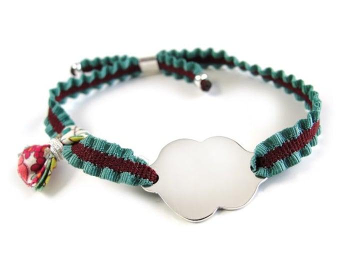 Pulsera Nube/plata/girl gift/cinta elástica bicolor/ALICE/pequeña.