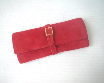 Red Suede Jewelry Roll Travel Case with Buckle Strap - Black Moire & Velvet Lining