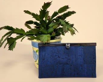 Rozy Wallet in blue cork and batik cotton