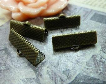 25 pcs 25mm  Clamps Crimp Ribbon End Antiqued Bronze