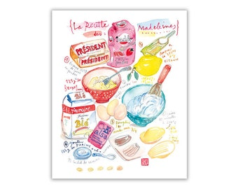 French kitchen wall art, Madeleine recipe illustration print, Bakery poster, Foodie gift, Cake art, Food artwork, Watercolor kitchen decor