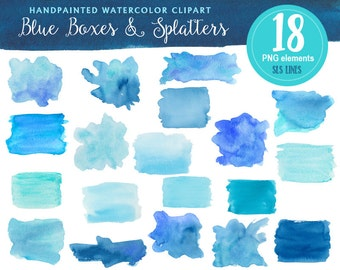Blue watercolor boxes and shapes, watercolor clipart blotches and splashes, graphic watercolor PNG files, aquamarine light blue