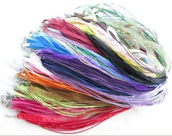 100 pieces Mixed Colors Voile Organza RIBBON CORD NECKLACES.