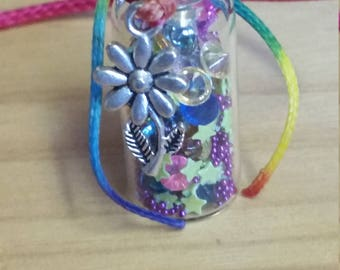 Handmade Glass Bottle Necklace Birthday Gift Hot Pink Cord Daisy Charm