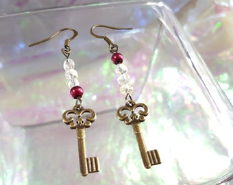 ANTIQUE key earrings dangle with beads Burgundy and beige.