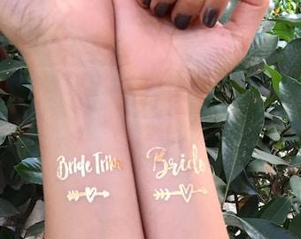 Bachelorette Tattoos | Bride Tribe Tattoo | Flash Tattoos | Temporary Tattoos | Metallic Tattoos | Bachelorette Party Tattoos | Gold Tattoos