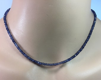 Iolite Rondelle Necklace in Sterling Silver