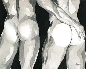 Original Artwork Watercolor Painting Man Gay Male Nude