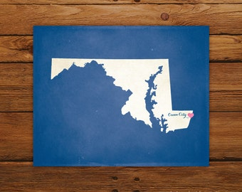 Customized Printable Maryland State Map Art - DIGITAL FILE - Aged-Look Canvas Wall Art Print