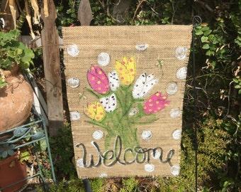 welcome mini garden flag~burlap
