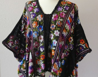 RESERVED Mexican Bluson Rebozo handwoven Amuzgo Oaxaca black varigated florals Frida Kahlo Boho resort- one/size