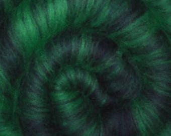 Spinning fiber batt for spinning and felting - Drum carded mixed fiber batt - 2.0 ounces - Dark Forest