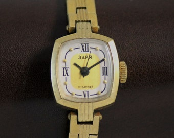 ZARJA Rare Vintage Slim SERViCED Art Deco watch 17 Jewels Gold Plated Case made in USSR