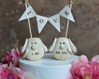 Dogs wedding cake topper... i do, me too dogs and LOVE banner included...package deal